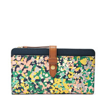 NEW FOSSIL WOMEN'S FIONA CLUTCH SMARTPHONE ID WALLET PINK FLORAL - $49.45