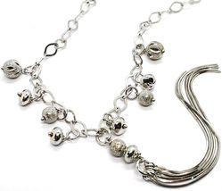 Halskette Silber 925, Kette Oval, Wasserfall, Fransen, Kugel Gearbeitet Anhänger image 2