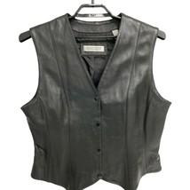 Evan Davies Black 100% Leather Vest Women's Size 16 - $19.79