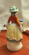 "Vintage Victorian Woman with Basket of Flowers Porcelain Figurine 6"" Tall  Made  image 3"