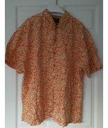 Eddie Bauer Men's XL Button Front Shirt Hawaiian Print Tan Beige Orange ... - $13.85
