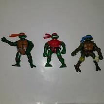 3 TMNT Teenage Mutant Ninja Turtles Raphael Leonardo Michelangelo Playmates - $24.70