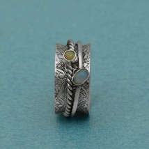 Spinner Ring! Solid 925 Sterling Silver Ethiopian Opal Two Band Meditati... - $16.60+