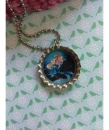 Blue Tailed Mermaid Bottle Cap Necklace - $4.00