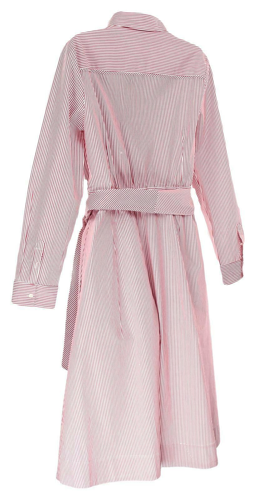 JCrew Womens Tie Waist Shirt Dress Red White Stripes Button Front Dress 14 H7791 image 5