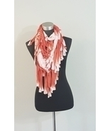 Orange White Tie Dye Knotted Fringe Cowl Infinity Scarf  - €18,12 EUR