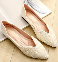 Sequin Ivory Ballet Flats Slippers Shoes Evening flat Party Shoe Wedding... - £39.12 GBP