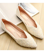 Sequin Ivory Ballet Flats Slippers Shoes Evening flat Party Shoe Wedding... - £39.09 GBP