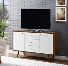 "Retro Modern Sideboard 48"" TV Credenza Buffet 3 Drawer 2 Door Wood Walnu... - $395.89"