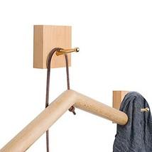 YOYAI Natural Wooden Coat Hooks Wall Mounted Brass Hooks Hat Rack Coat H... - $8.26