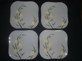 "4 Set WEIL WARE BLOSSOM Gray Square 9.5"" DINNER Plates Made in California - $56.09"