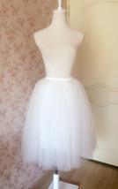 WHITE TULLE SKIRT Elastic Waist Plus Size Midi Tulle Skirt White Wedding Skirts image 3