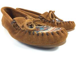 Minnetonka Moccasins El Paso Women's Kiltie Brown Leather Southwestern S... - $34.00