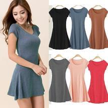 women summer dress New Korean Girl Mini Dress Short Sleeve Candy Color One-piece