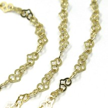 """18K YELLOW GOLD CHAIN HEART LINKS THICKNESS 2mm, 0.08"""" LENGTH 45cm, 18"""", HEARTS  image 2"""