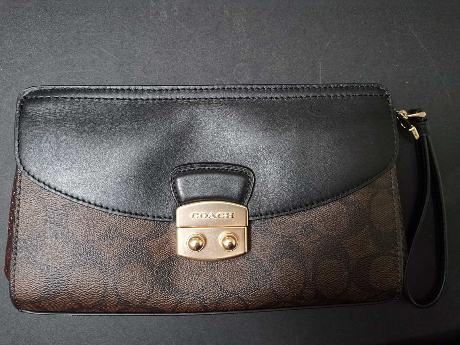 NWT Coach Signature brown black  Flap Clutch with Snake Embossed Leather handbag