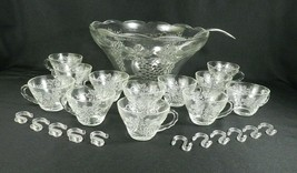 Vtg Anchor Hocking Clear Glass Punch Bowl Set Ladle 12 Cups Grapes Grape... - $24.74