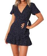 Summer Women Short Sleeve Print Dress V Neck Casual Short Dresses - $14.99