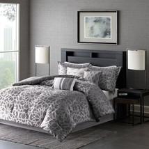 6pc Grey & Metallic Silver Woven Duvet Cover Bedding Set AND Decorative Pillows - $118.74+