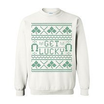 UGP Campus Apparel St Patricks Day Get Lucky Ugly Sweater Crewneck Sweat... - $31.56