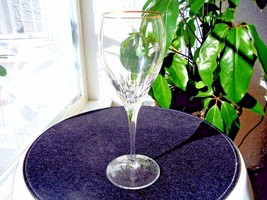"High Quality Cut Crystal Wine Glass Gold Rim 8 5/8"" Tall - $21.77"