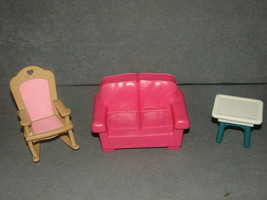 Fisher Price Loving Family Dollhouse: Pink Couch + Rocking Chair + End T... - $13.00