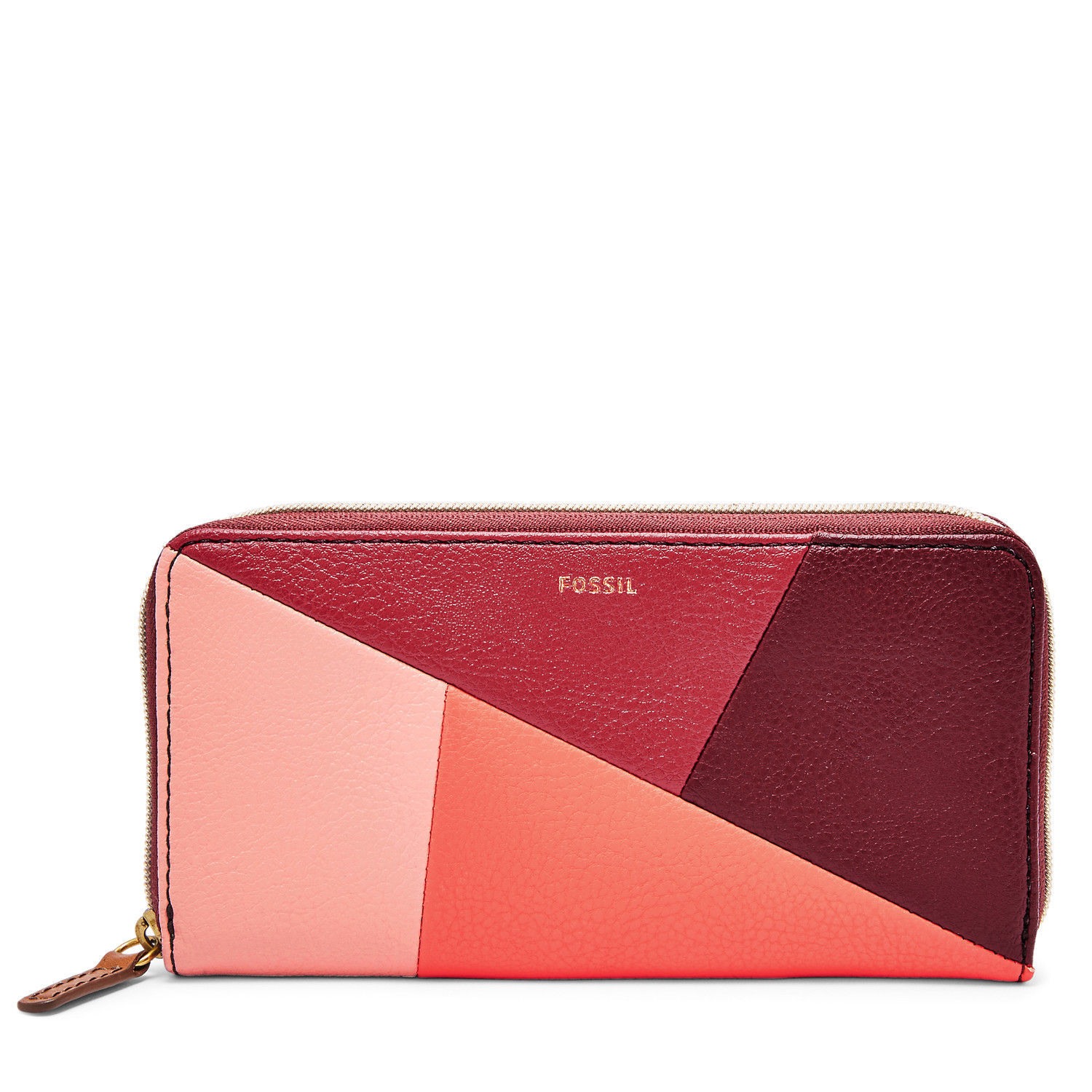 New Fossil Women's Jayda Zip Around Clutch Red Multi