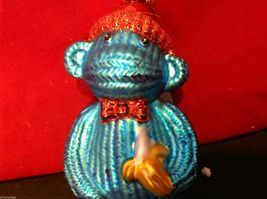 Glass ornament  sock monkey in choice of blue teal or red department 56 new image 5