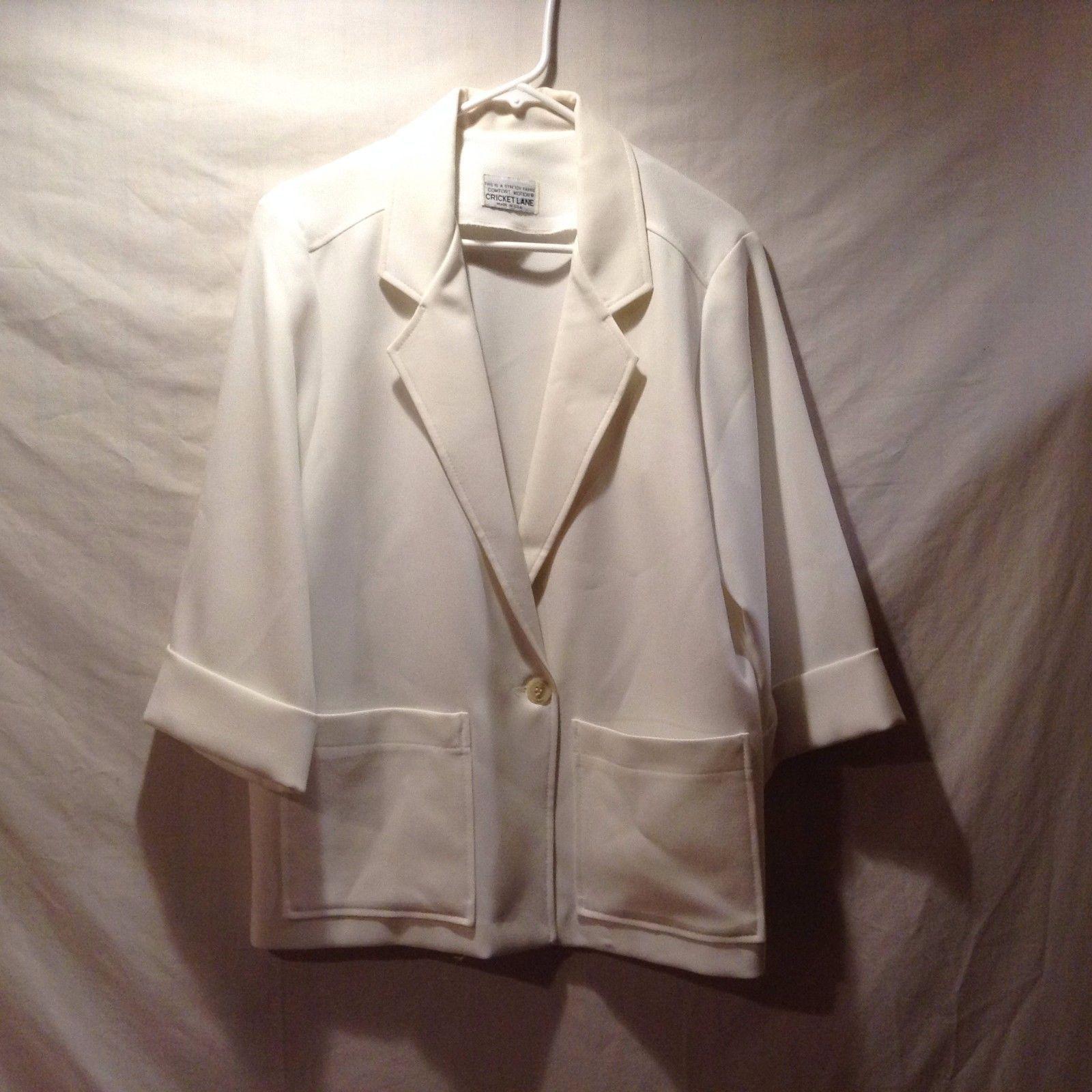 Cricket Lane Comfort Motion White 3/4 Sleeve Blazer
