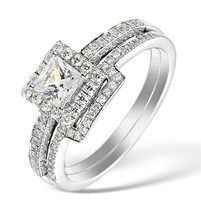 14k White Gold Fn White CZ Princess Cut 925 Silver Engagement & Wedding Ring Set - $75.98
