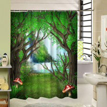 Cute Fabric Bath Curtain Polyester Waterproof 3d Printing Tree Shower Curtain in image 3