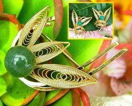 Vintage Filigree Leaf Brooch Earrings Set Gold Faux Jade Green Japan - $26.95