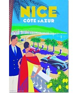 Nice Cote D'Azur French Riviera Vintage Travel Poster Reproduction - $31.99+