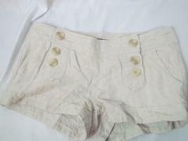 EXPRESS BEIGE LINEN BLEND SHORTS size 2 Sailor Button front Tan - $23.74