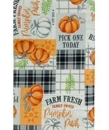 Pumpkin Patch Vinyl Flannel Back Tablecloth 60 Round Farm Fresh Fall - £14.39 GBP