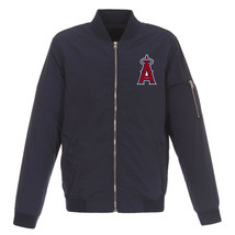 MLB Los Angeles Angels Lightweight Nylon Bomber Jacket Black Embroidered Logo - $99.99