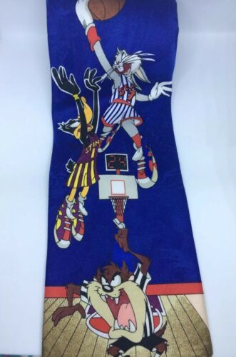 Primary image for Vintage 1996 Necktie Looney Tunes Mania Bugs Bunny Daffy Duck Basketball Tie