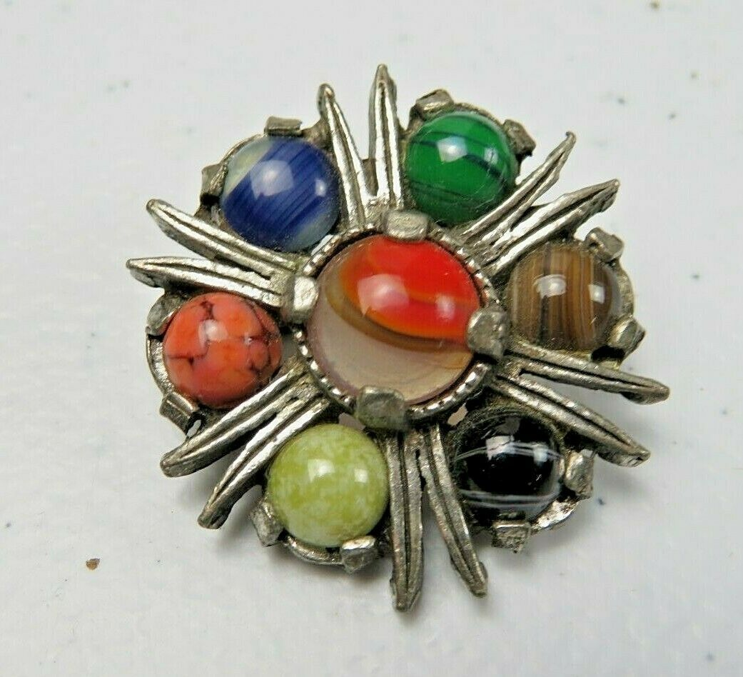 MIRACLE Vintage Celtic Scottish Pewter & Multi Color Agate Pin Brooch 1 1/4""
