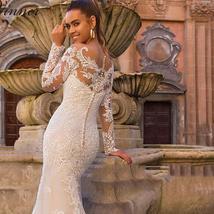 Celeb Vintage Bridal Euro Designer Long Sleeve Button Illusion Floral Embroidere image 2