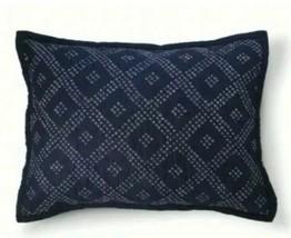 1 Threshold Navy Blue Shibori Dot Standard Pillow Sham Diamond Pattern - $22.05