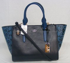 NWT Coach Crosby Carryall. Colorblock Exotic Embossed Leather Navy Blue ... - $349.00