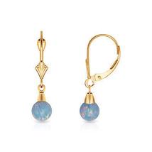 5 mm Ball Shaped Light Blue Fire Opal Leverback Dangle Earrings 14K Y Gold - $66.28