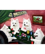 Home of Amecian Eskimo 4 Dogs Playing Poker Art Portrait Print Woven Thr... - $147.51