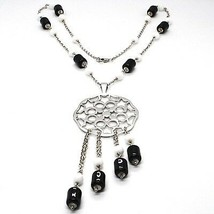 Necklace Silver 925, Onyx Black Pipe, Locket Stars and Circles Pendant image 1