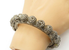 925 Sterling Silver - Vintage Antique Ornate Detail Large Bangle Bracele... - $233.67