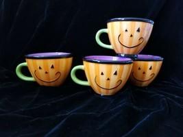 Seasons Of Cannon Falls Pumpkin Smile Face Halloween Cups Mugs Orange Pu... - $34.99