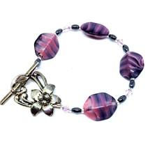 Handmade Glass Bead Bracelet, Pink Zebra Stripe, Hematite Crystals Toggle Clasp - $12.86