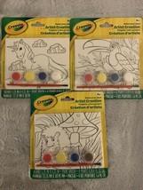 Crayola Paint Your Own Artist Creation Paint/Brush Lot Of 3 Unicorn + - $14.03