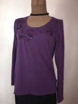 Sonoma Women's M Top Purple Long Sleeve Beaded Embellished Pullover Work Club - $4.94