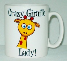 Crazy Giraffe Lady Mug Can Personalise Funny Animal Lover Zoo Safari Bew... - $9.23